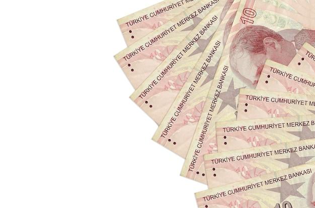 Turkse lira's rekeningen op een witte achtergrond