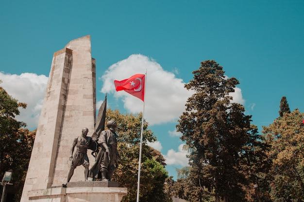Turkse vlaggen met blauwe lucht op de achtergrond in het park in zonnige dag turks patriottisme concept