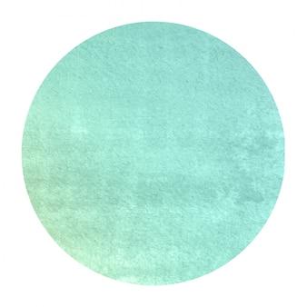Turquoise hand getekende aquarel circulaire frame achtergrondstructuur met vlekken