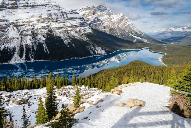 Turquoise peyto lake met weerspiegeling van canadese rocky mountain in alberta, canada.