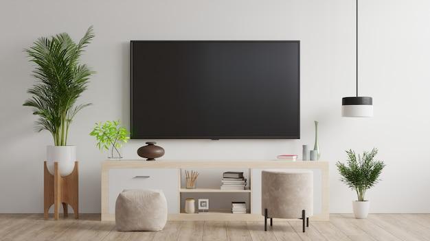 Tv aan muur en kast, woonkamer.