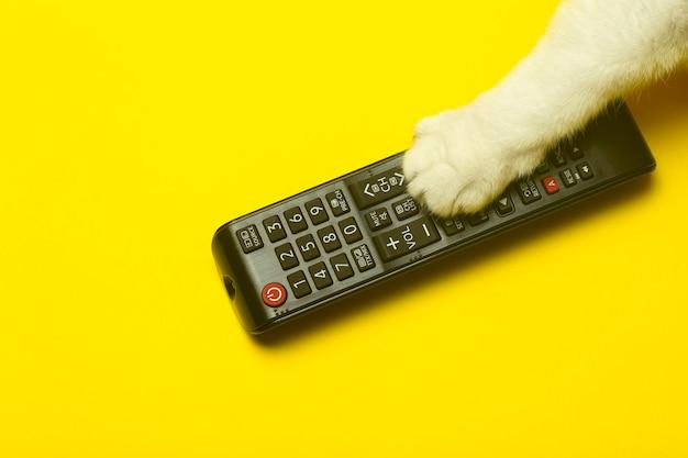 Tv-afstandsbediening met de poot van een kat op een gele