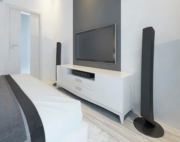 Tv en muziekluidsprekers in moderne lichte slaapkamer. 3d render.