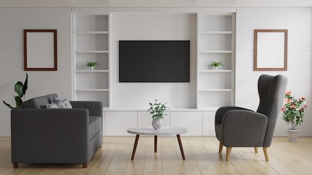 Tv in de moderne woonkamer aan de witte muur heeft een tafel en een bank