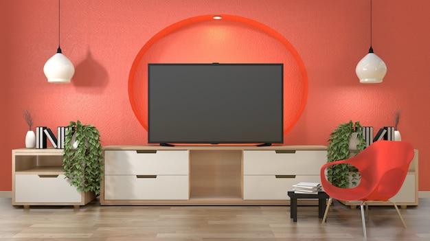 Tv in japanse kamer met decoratie op verborgen licht van het de muurontwerp van de koraalkleur.