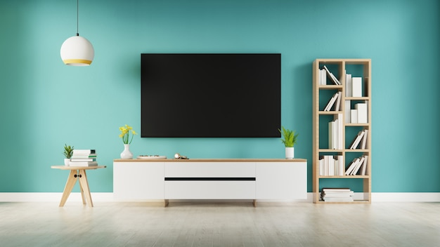 Tv in moderne lege ruimte blauwe muur. 3d-weergave