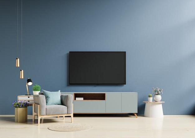 Tv in moderne woonkamer met fauteuil heeft een lege donkerblauwe muurachtergrond. 3d-rendering