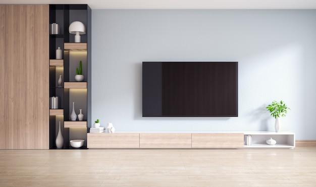 Tv-kabinet en vertoning met op houten bevloering en lichtgrijze muur, minimalistisch en uitstekend binnenland van woonkamer, het 3d teruggeven