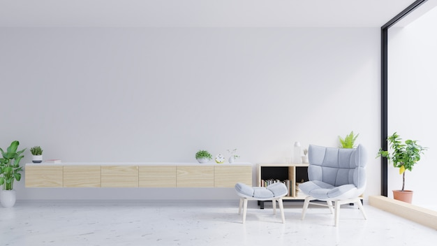 Tv-kast en grijze stoel op betonnen muur met marmeren vloeren.