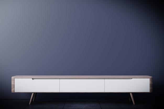 Tv-kast in moderne lege ruimte, donkere muur, 3d-rendering