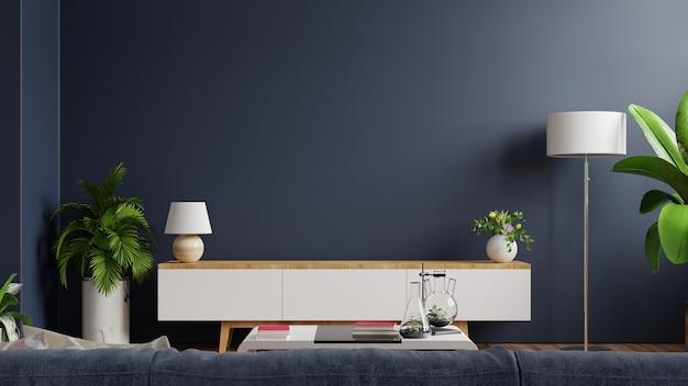 Tv-kast in moderne lege ruimte met achter de donkerblauwe muur. 3d-weergave