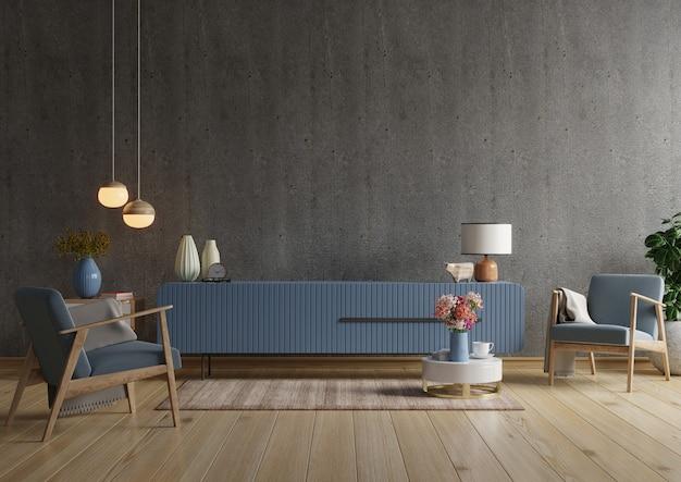 Tv-kast in moderne woonkamer met fauteuil op lege donkere betonnen muur. 3d-weergave