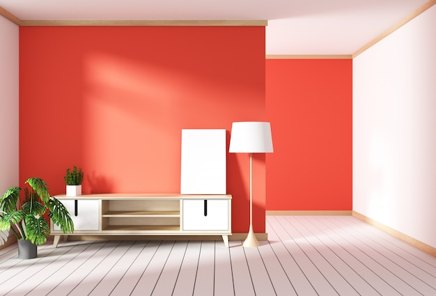 Tv-kast in rode moderne kamer, minimale ontwerpen, zen-stijl. 3d-rendering