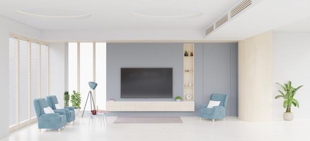 Tv-meubel en display en donkerblauwe stoel op betonnen muur met houten vloeren.