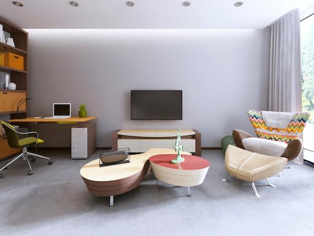 Tv-meubel in een eigentijdse woonkamer met werkruimte en een grote fauteuil. 3d render.