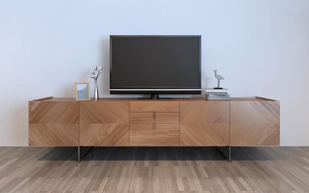 Tv-meubel met plasma en versieringen, bruine ikea-kast met zilveren versieringen en lijst erop. 3d render