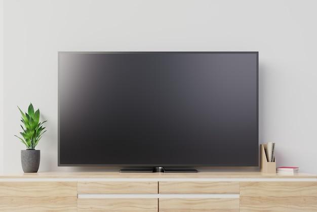Tv-model met het lege zwarte scherm op kabinet. 3d-rendering