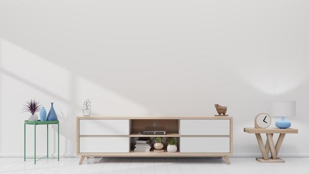 Tv-plank in moderne lege ruimte en witte muur. 3d-rendering