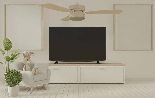 Tv-plankenkast in moderne lege ruimte. 3d-weergave
