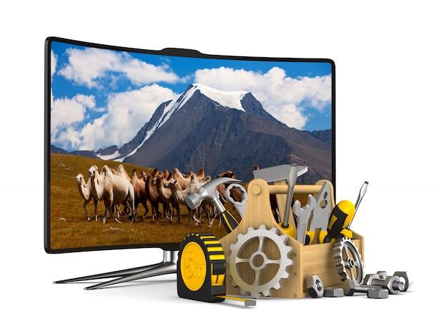 Tv-service op wit. geïsoleerde 3d-afbeelding