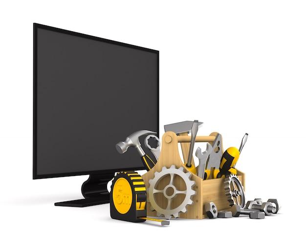 Tv-service op witte achtergrond. geïsoleerde 3d-afbeelding