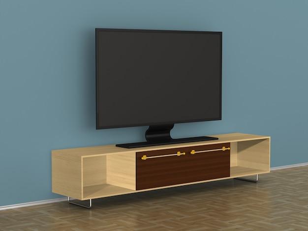 Tv-standaard in de woonkamer. 3d illustratie