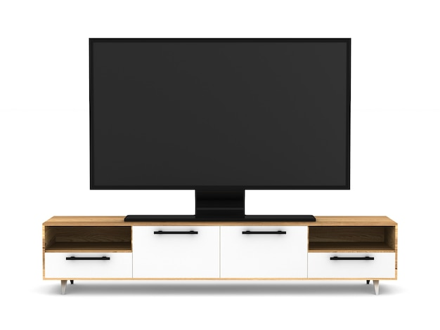 Tv-tribune op witte achtergrond. geïsoleerde 3d-afbeelding