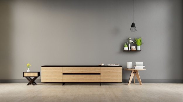 Tv van het woonkamerkabinet in moderne lege ruimte, minimale ontwerpen, het 3d teruggeven