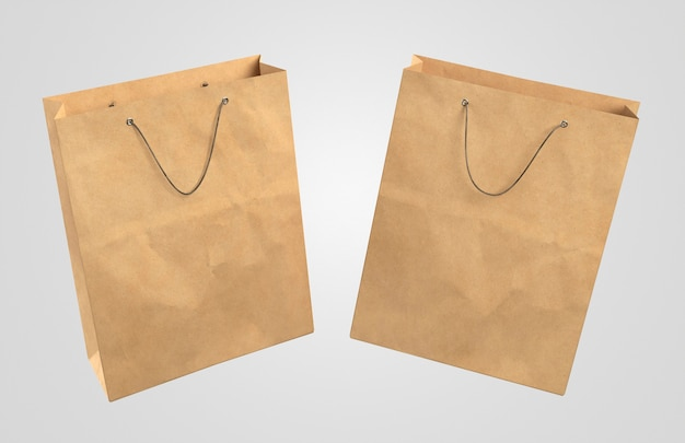 Twee 3d-papieren boodschappentassen