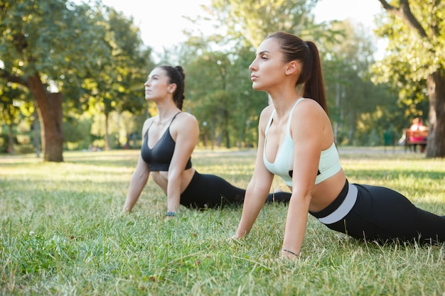 Twee aantrekkelijke jonge vrouwen die genieten van het beoefenen van yoga buiten bij zonsopgang