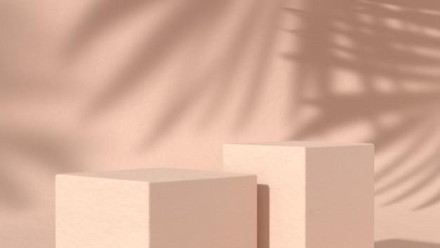 Twee abstract podium voor cosmetische productplaatsing op natuurlijke achtergrond