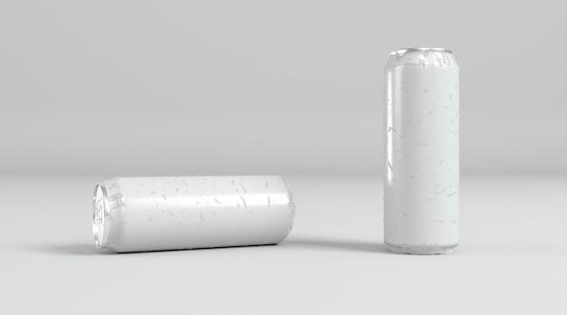 Twee abstracte presentatie van aluminium blikjes frisdrank