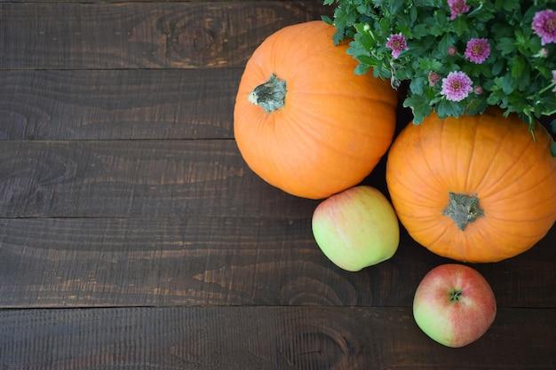 Twee appels en twee oranje pompoenen op achtergrond van oude bruine houten plank. herfst oogst, thanksgiving day concept.