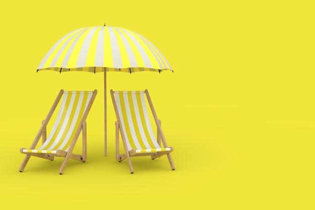 Twee beach relax pool chairs onder zonnescherm op een gele achtergrond. 3d-rendering