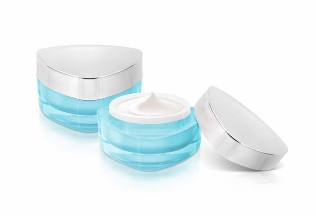 Twee blauwe driehoek cosmetische potten