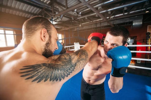 Twee boksers slaan elkaar toe.