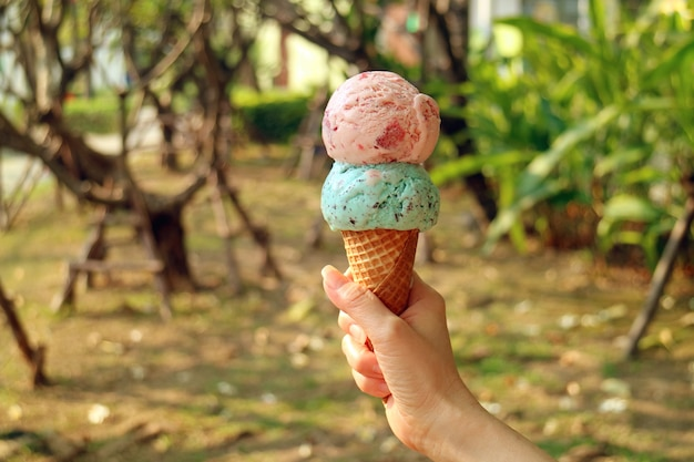 Twee bollen ijsje in de hand van de vrouw met zonnetuin