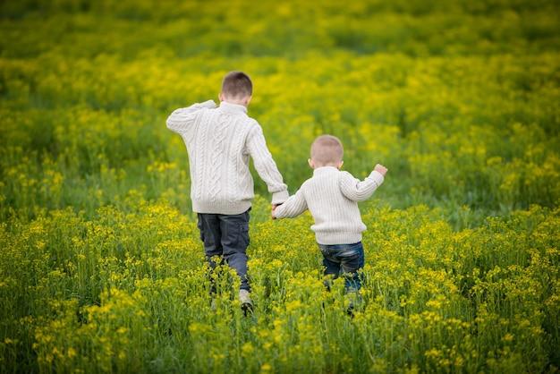 Twee broers lopen een bloeiend geel veld in