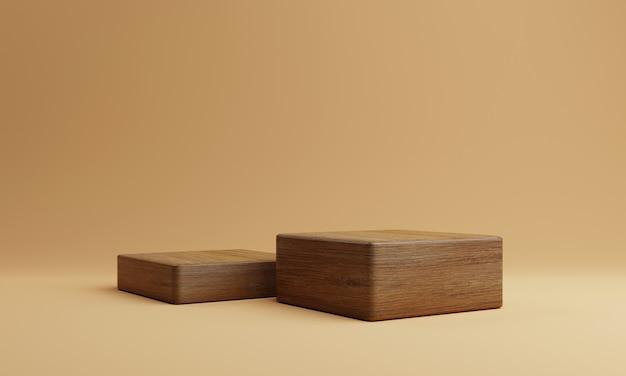 Twee bruin houten rechthoek kubus product podium podium op oranje achtergrond