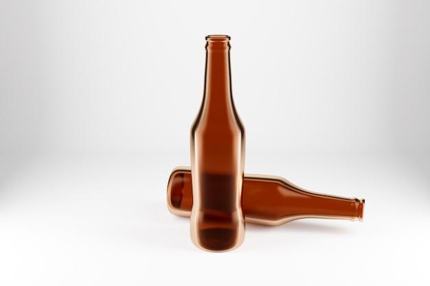 Twee bruine glazen bierflessen op witte geïsoleerde achtergrond