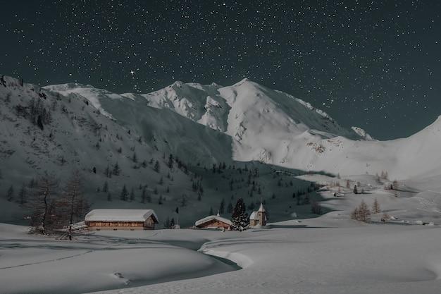 Twee bruine huizen bedekt met sneeuw