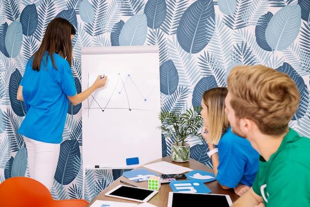 Twee creatieve stafmedewerker die vrouw in de blauwe grafiek van de t-shirttekening bekijkt