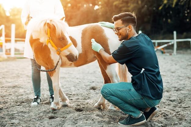 Twee dierenartsen die met een stethoscoop een klein en schattig ponypaard onderzoeken.
