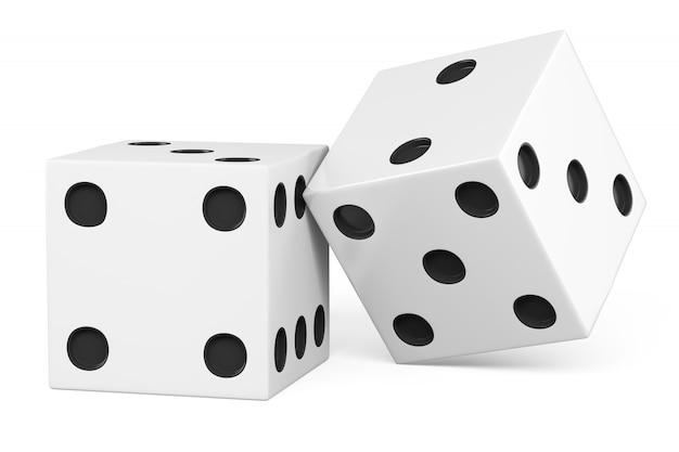 Twee dobbelstenen geïsoleerd op een witte achtergrond