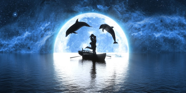 Twee dolfijnen springen over een boot met kussende mensen op de achtergrond van de maan, 3d illustratie