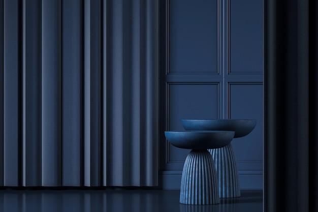 Twee donkerblauwe bijzettafels op blauwe klassieke interieur mockup scene, abstracte achtergrond voor product of presentatie. 3d-rendering