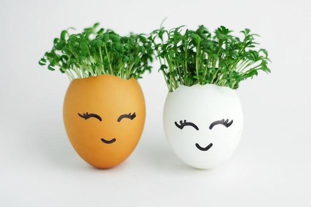 Twee eieren met zaailingen erin en schattige gezichten geschilderd op de witte achtergrond
