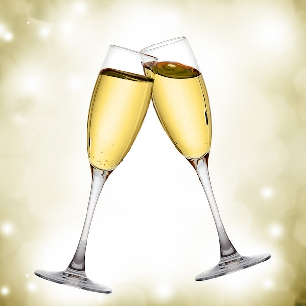 Twee elegante champagneglazen