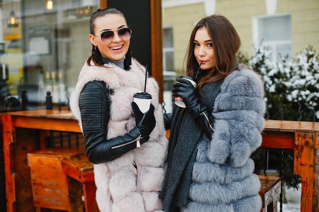 Twee elegante en prachtige meisjes in stijlvolle bontjassen wandelen in het winterpark