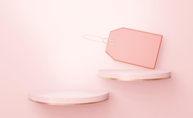 Twee elegante ronde roze planken met een leeg etiket voor het plaatsen van schoenentassen en andere goederen